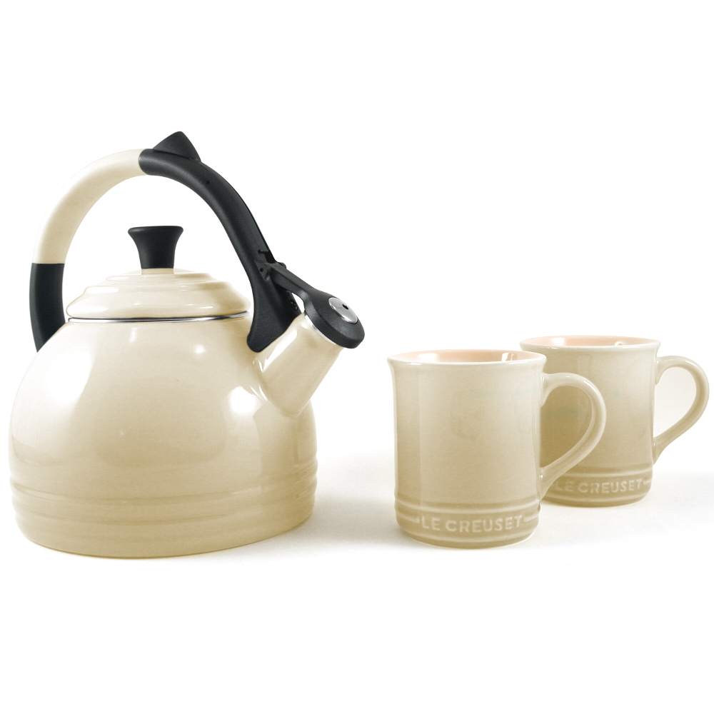 Le Creuset 3 Piece Dune Enameled Steel Kettle and Mug Set
