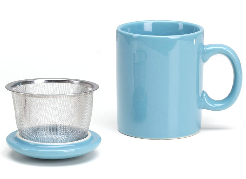 Omniware Turquoise Ceramic Infuser Tea Mug with Lid