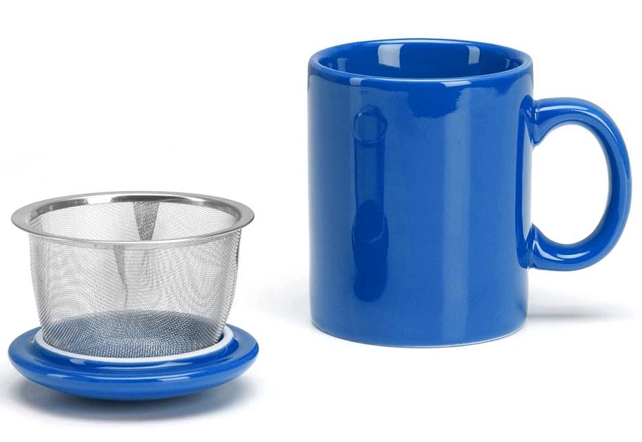 Omniware Simply Blue Ceramic Infuser Tea Mug with Lid