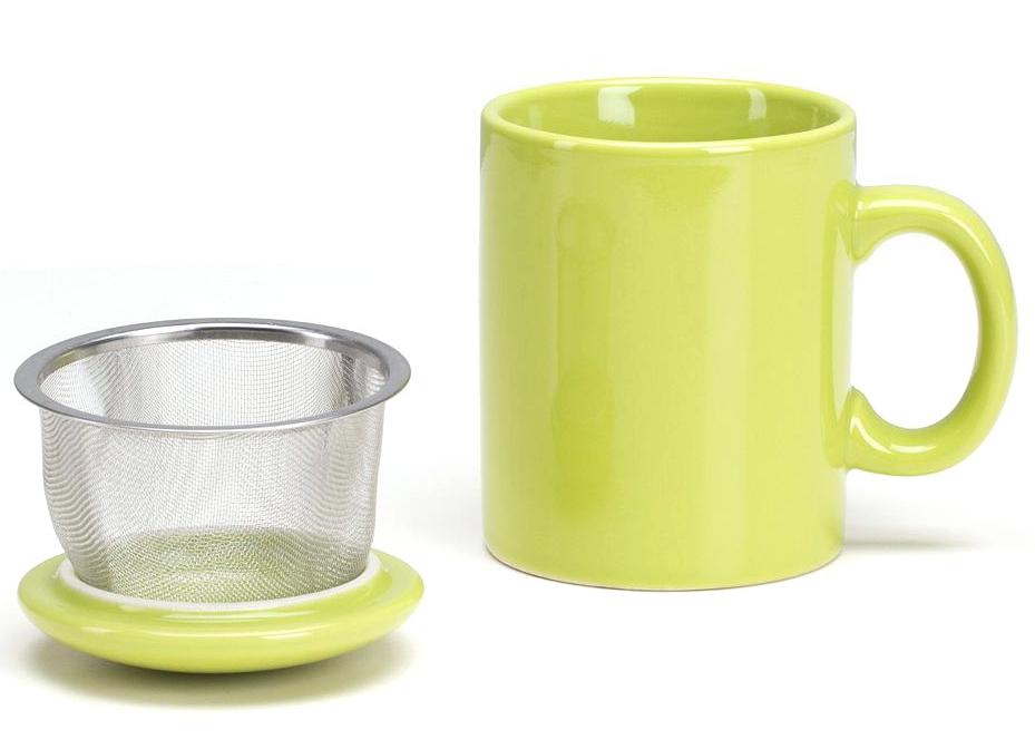 Omniware Citron Ceramic Infuser Tea Mug with Lid