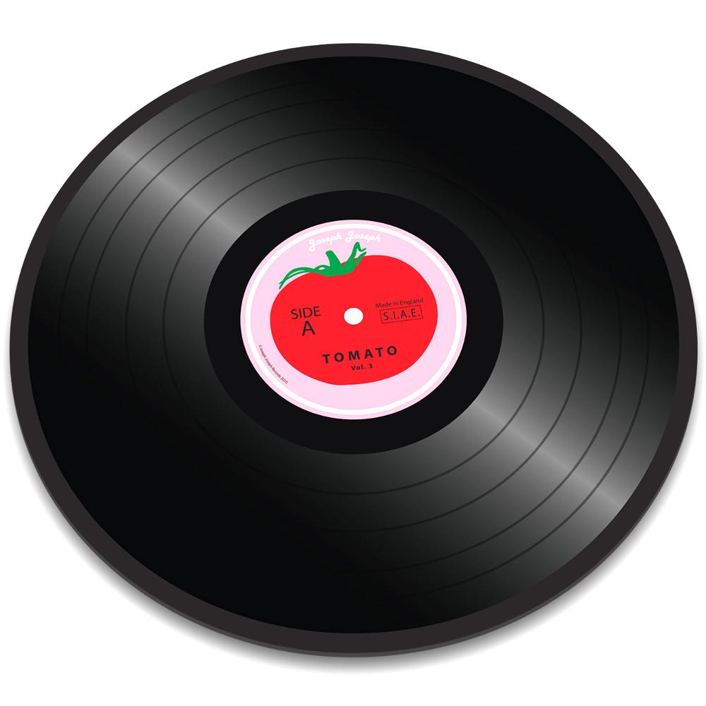 Joseph Joseph Vinyl Record Tomato Worktop Saver Round Glass Cutting Board, 12 Inch
