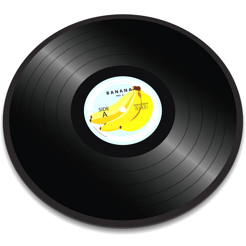Joseph Joseph Vinyl Record Banana Worktop Saver Round Glass Cutting Board, 12 Inch