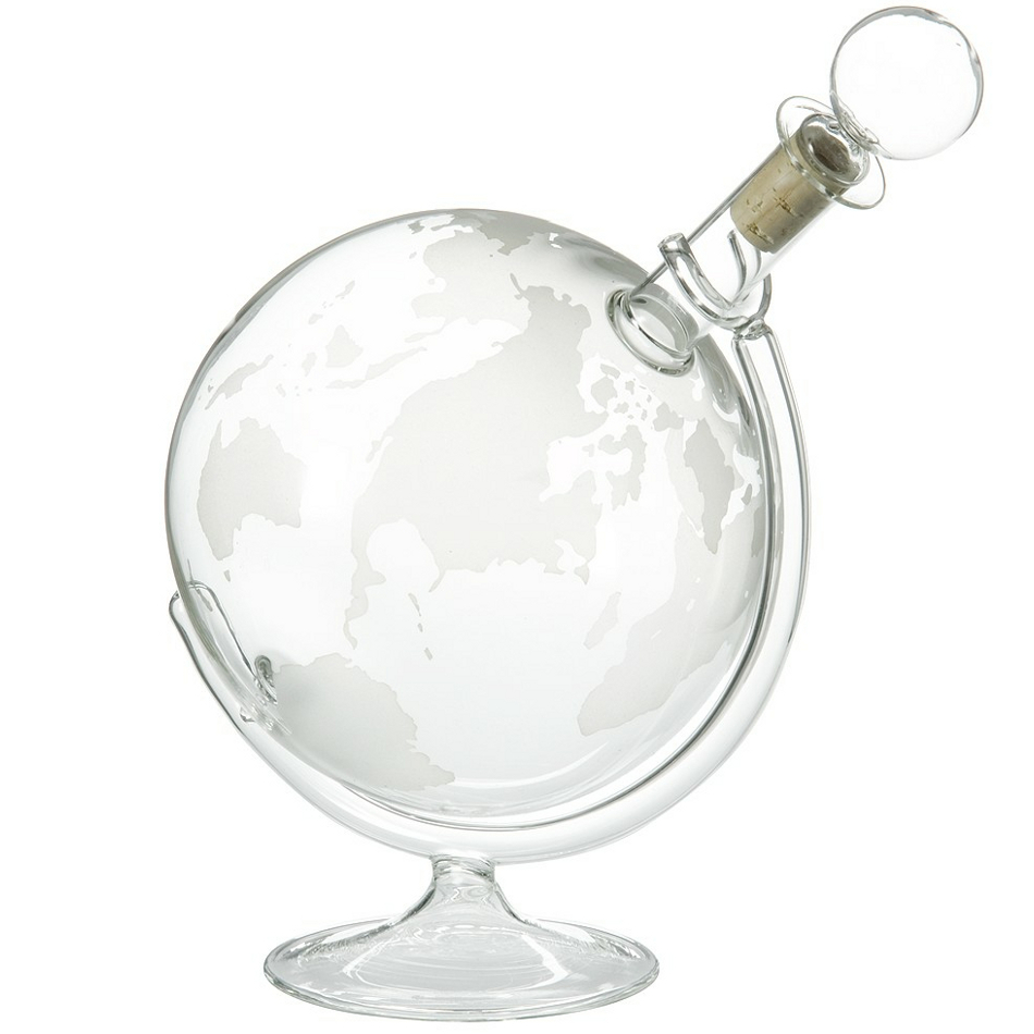 Wine Enthusiast Crystal Etched Globe Spirits Decanter, 35 Ounce
