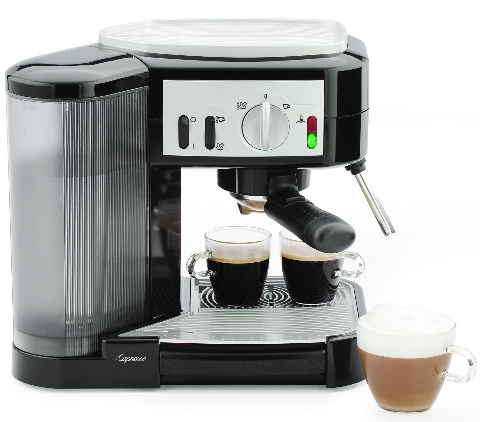 Capresso Café Black and Silver Espresso and Cappuccino Machine
