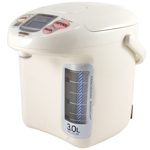 Zojirushi Micom Panorama White and Gray Water Boiler and Warmer, 3 Liter