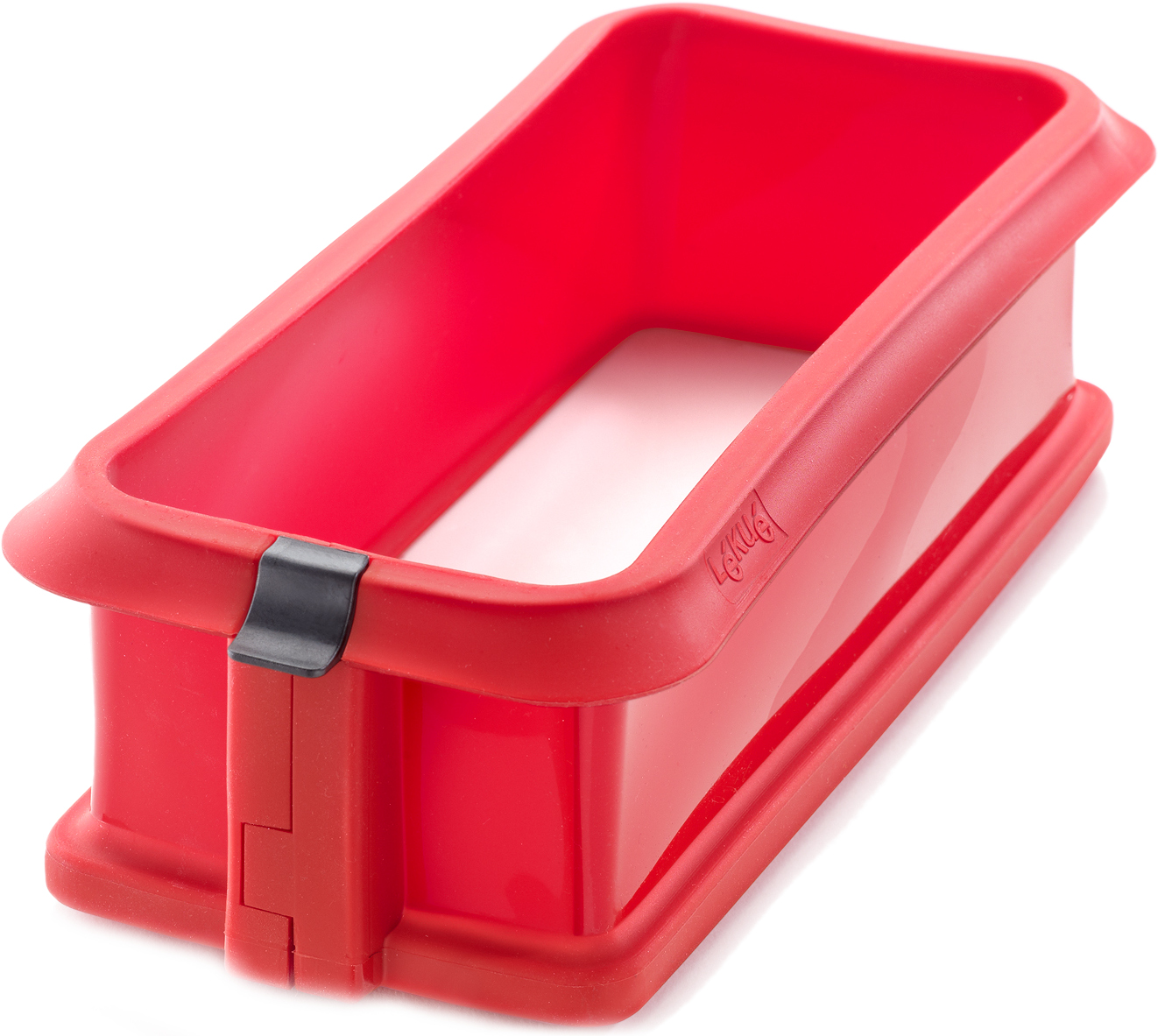 Lekue Red Silicone Loaf Springform Pan with Ceramic Plate