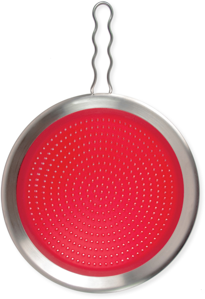 Tovolo Red Silicone Splatter Screen with 18/10 Stainless Steel Fixed Handle