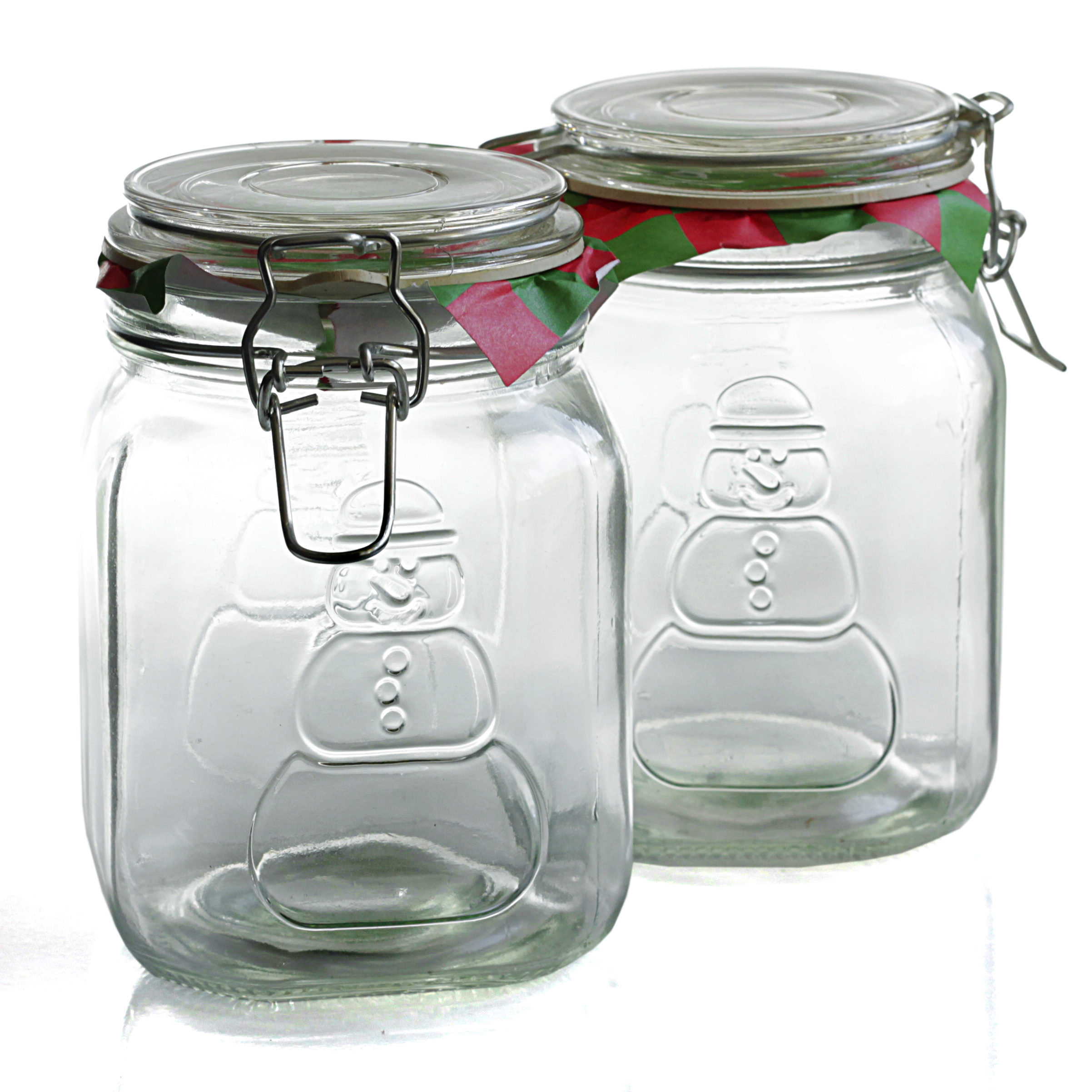 Anchor Hocking Home Collection Heremes Clamp-Top Glass Snowman Storage Container