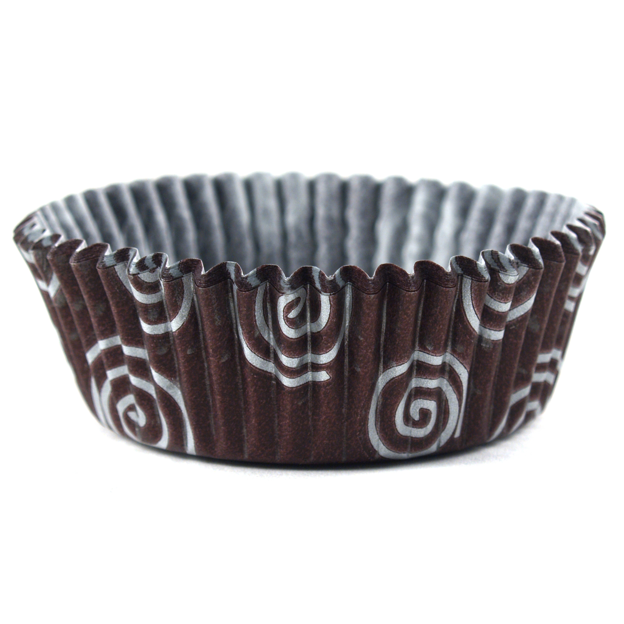 Cupcake Creations Brown and Silver Swirl Brownie Baking Cup, Set of 32
