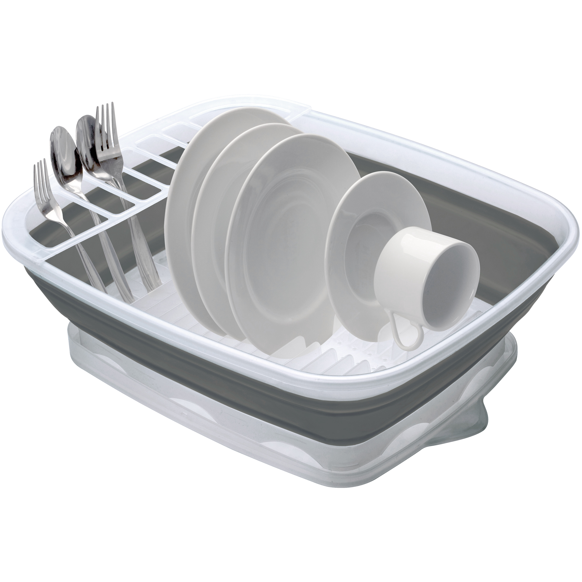 Progressive International Grey and White Collapsible Dish Rack
