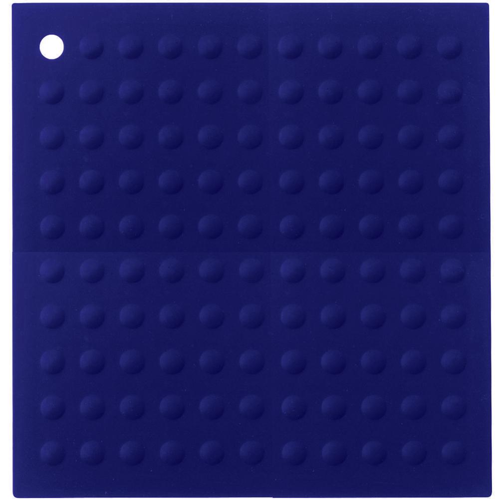 Lamson & Goodnow Hotspot Square Blue Silicone Trivet, 11.5 Inch