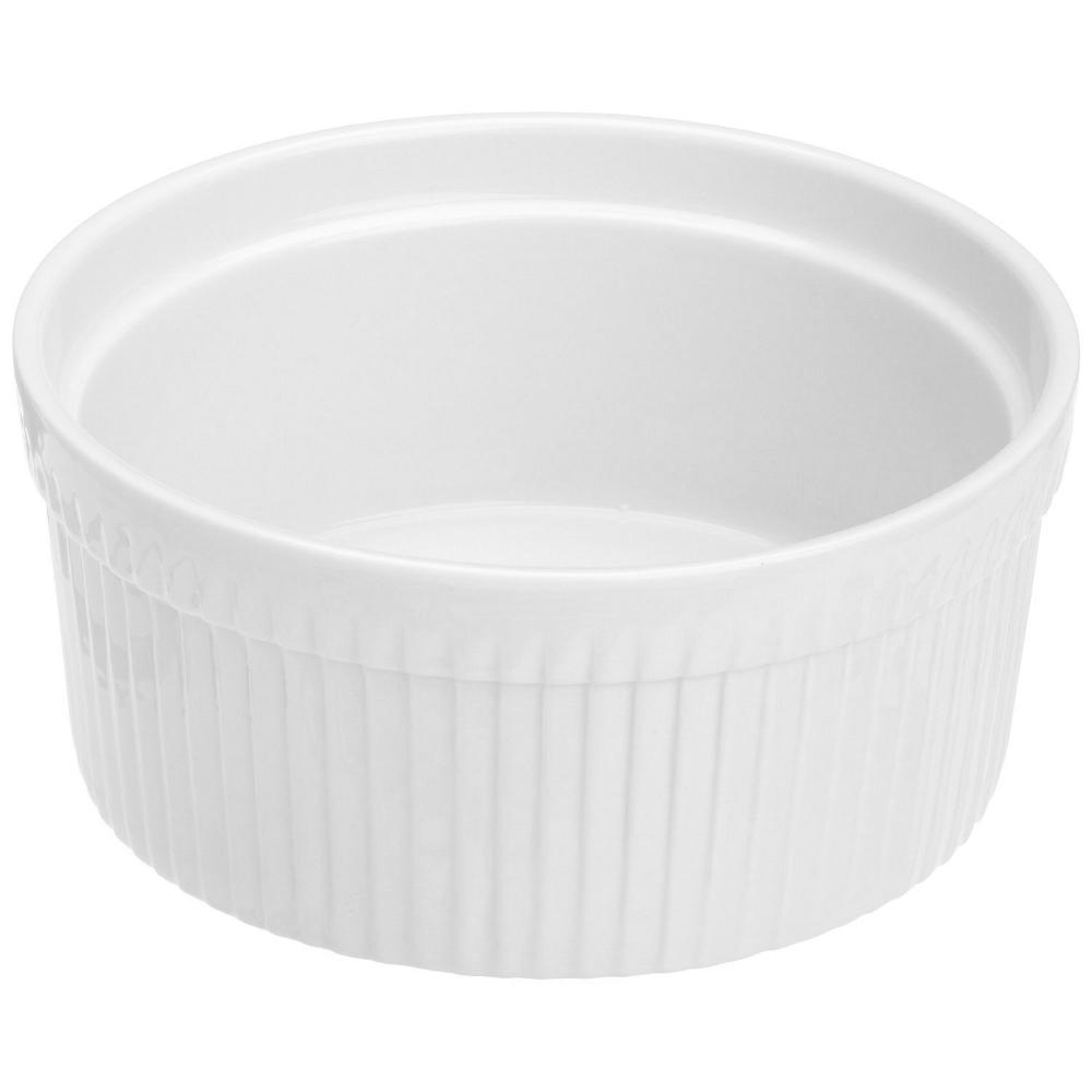 Kitchen Supply White Porcelain Soufflé Dish, 1 Quart