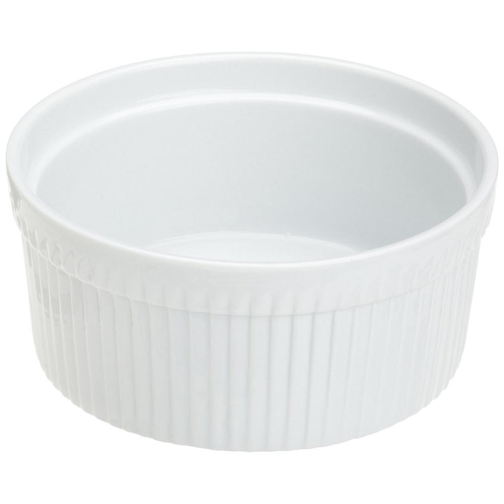 Kitchen Supply White Porcelain Soufflé Dish, 2 Quart