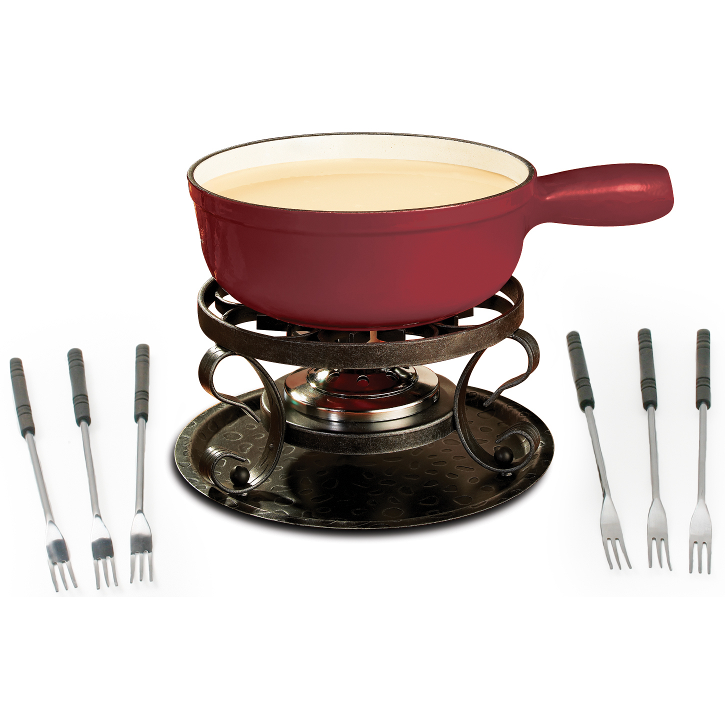 Swissmar Lugano Cherry Red Enameled Cast Iron 9 Piece Fondue Set