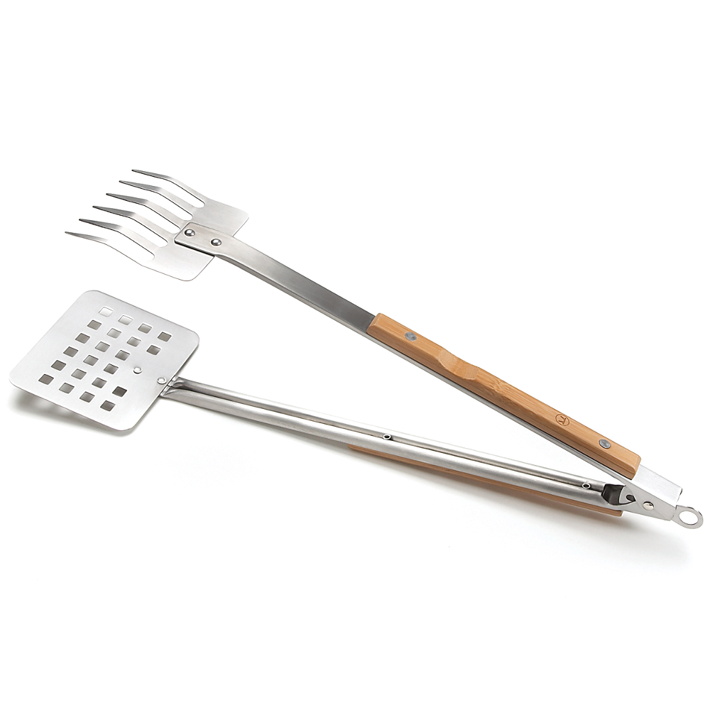 Outset Verde Multipurpose Stainless-Steel Claw Barbecue Tongs with Bamboo Handle, 19.5 Inch