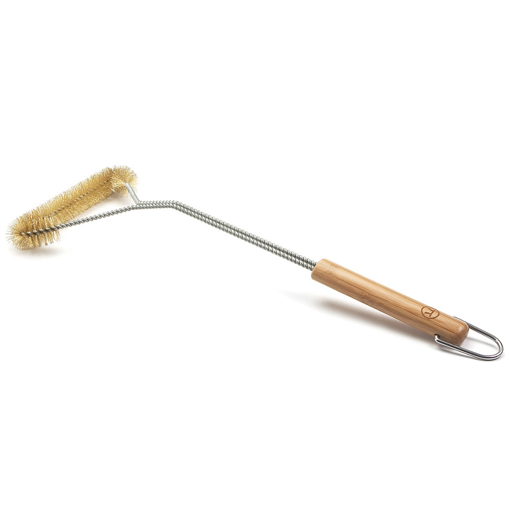Outset Verde BBQ Three Sided Stainless Steel Grill Brush with Bamboo Handle, 18.5 Inch