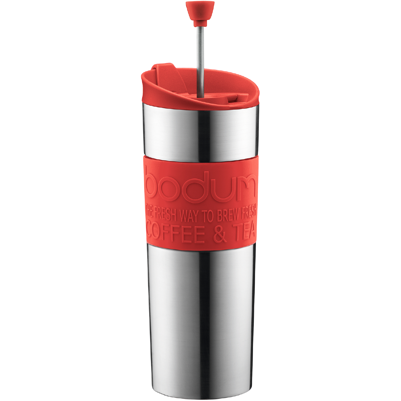 Bodum Insulated Stainless Steel Travel French Press with Red Accents, 15 Ounce