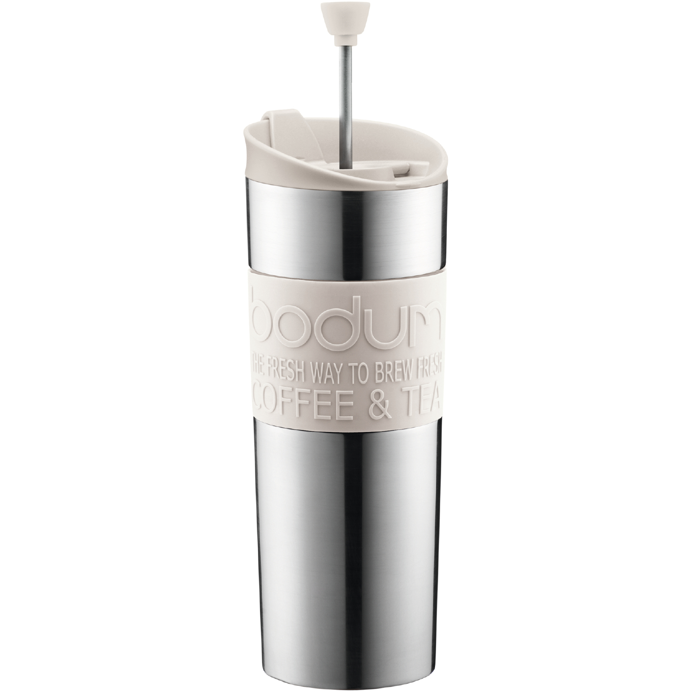 Bodum Insulated Stainless Steel Travel French Press with Off-White Accents, 15 Ounce