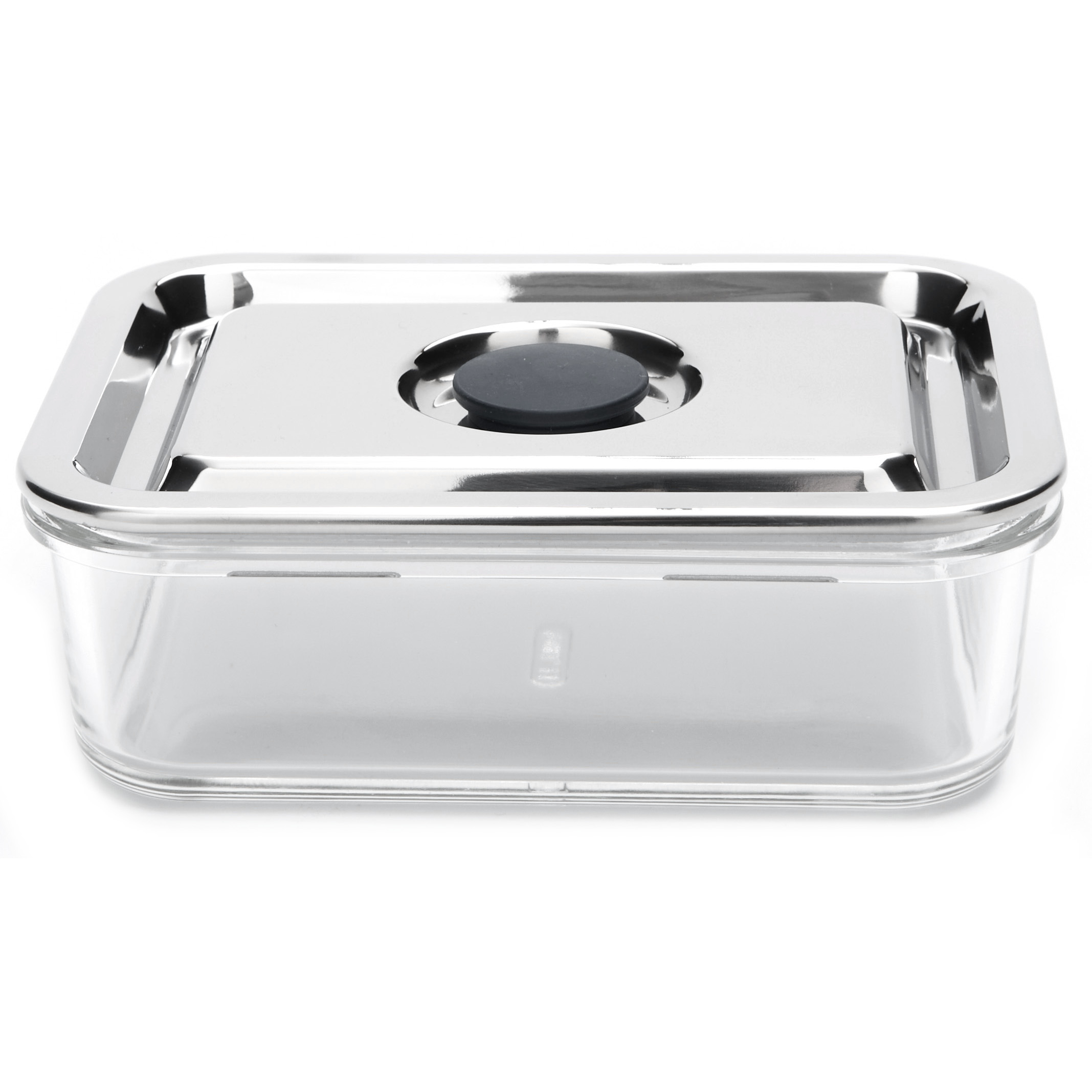 Onyx Medium Rectangular Airtight Glass Container with 18/8 Stainless Steel Lid