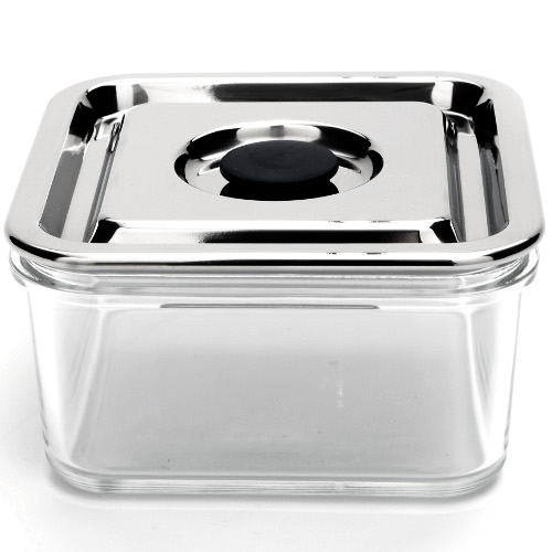 Onyx Medium Square Airtight Glass Container with 18/8 Stainless Steel Lid