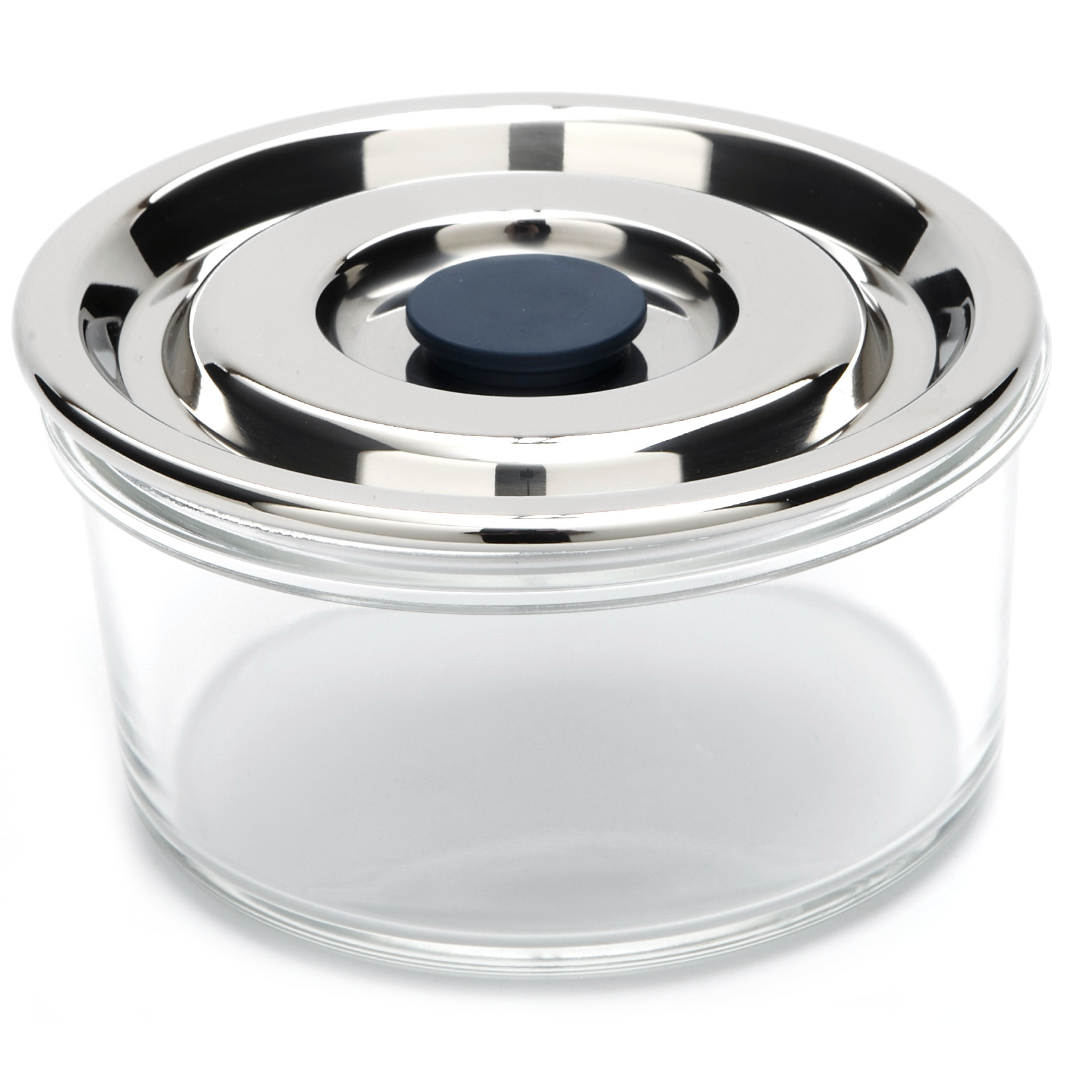 Onyx Medium Round Airtight Glass Container with 18/8 Stainless Steel Lid