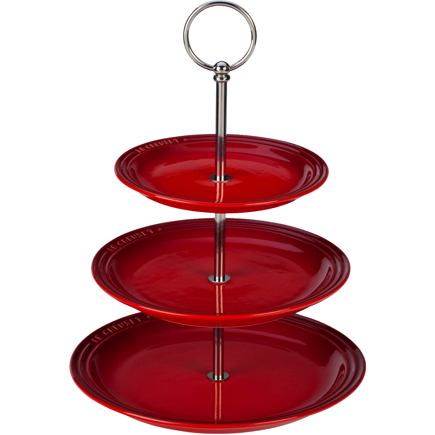 Le Creuset Cherry Stoneware 3 Tiered Server, 14.5 Inch