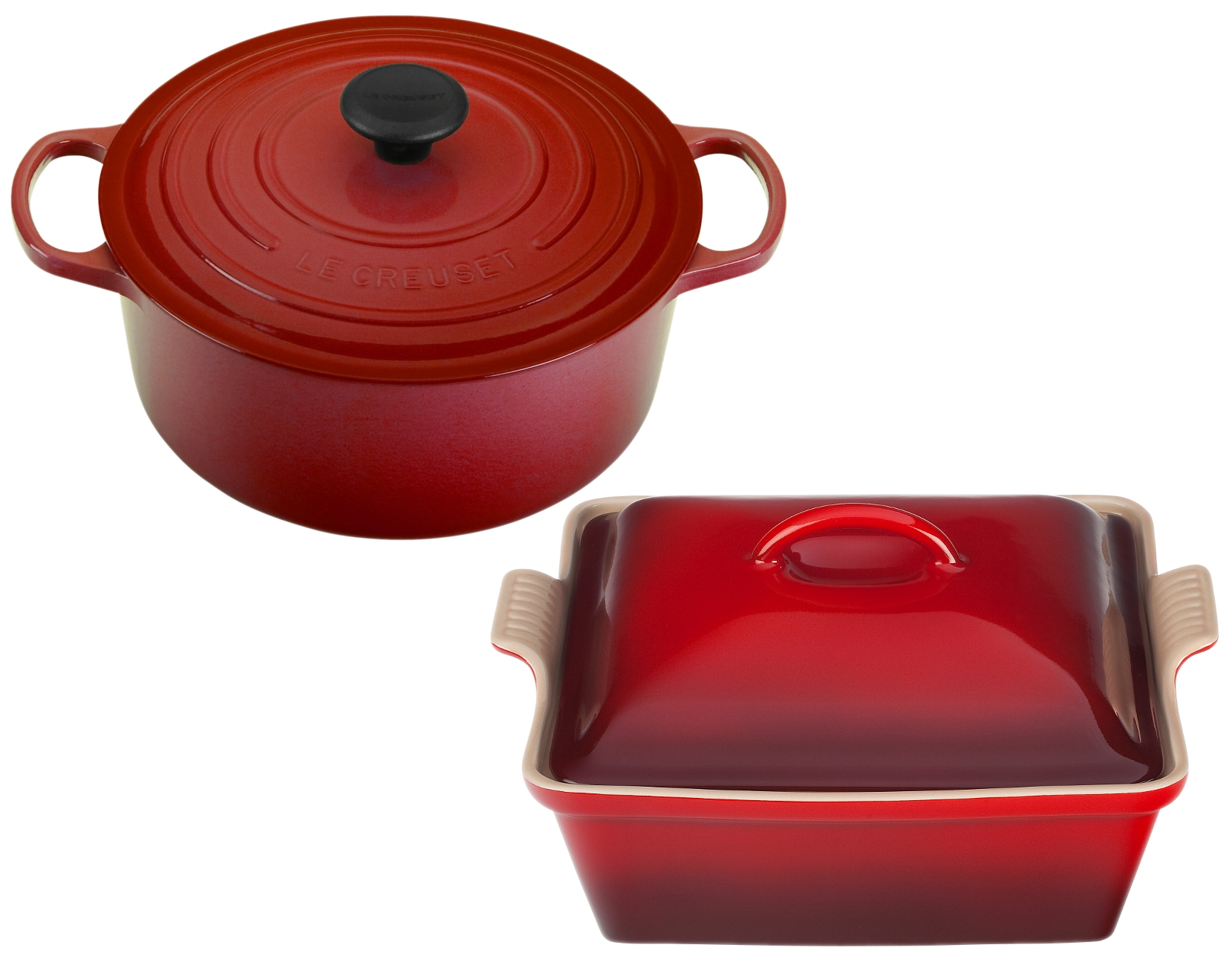 Le Creuset Enameled Cast Iron 3.5 Quart Cherry French Oven with Bonus Covered Casserole