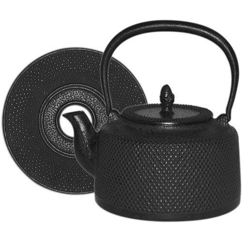 Black Hobnail Cast Iron Tea Kettle with Trivet, 50 Ounce