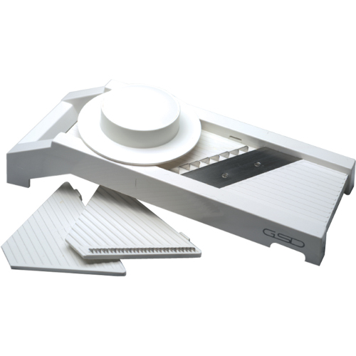 White Plastic Mandoline Slicer with Stainless Steel Blades