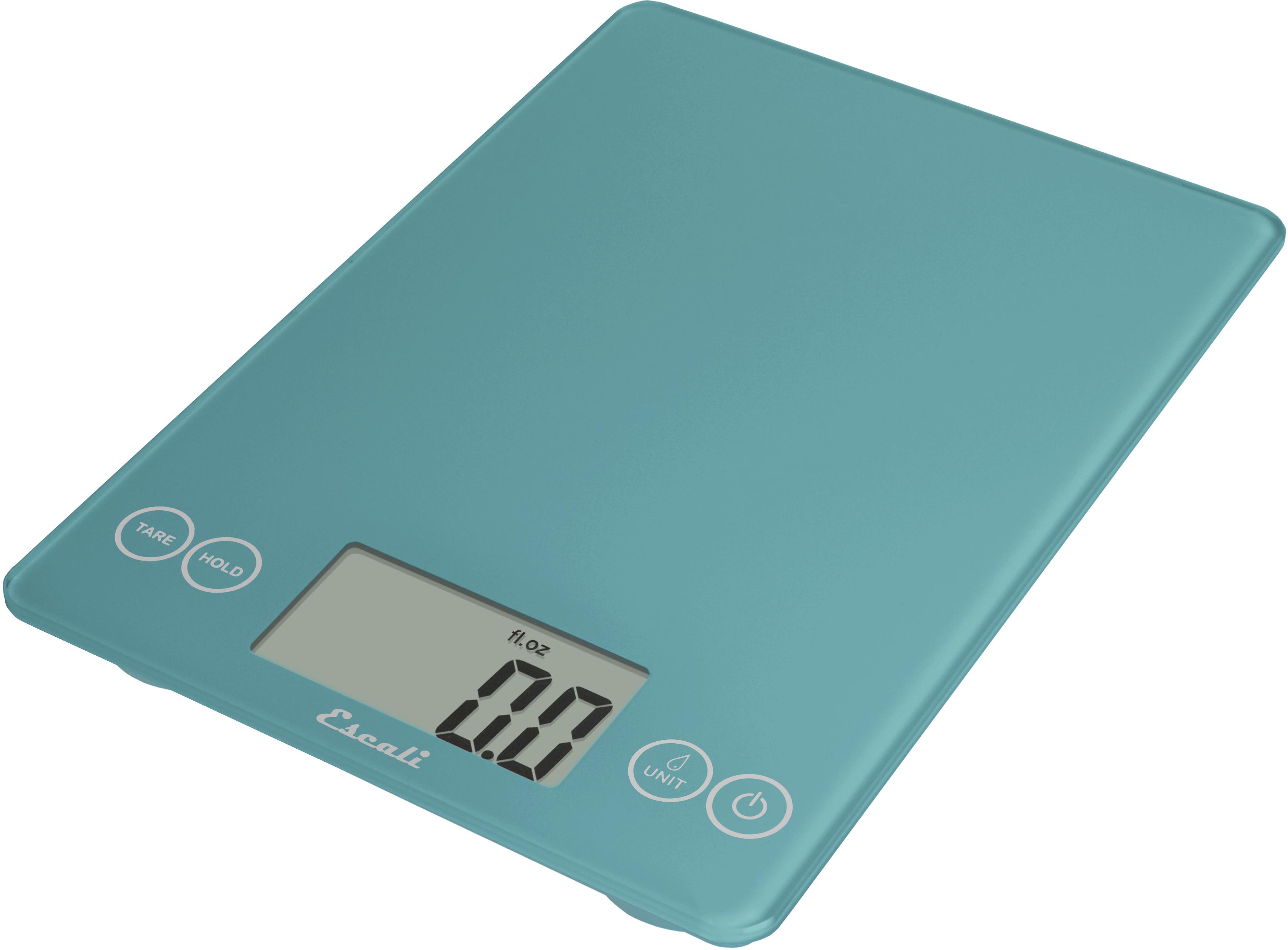 Escali Arti Peacock Blue Glass Digital Kitchen Scale, 15 Pound