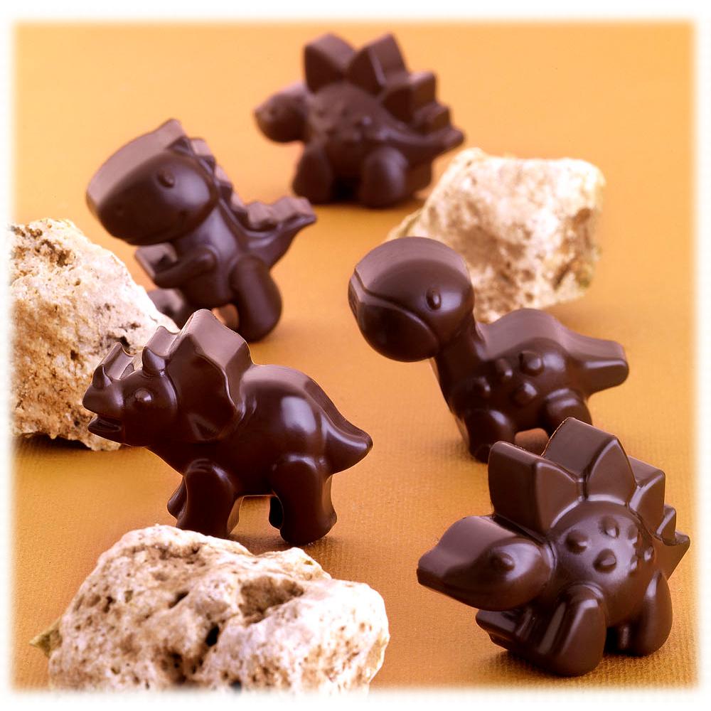 Silikomart Stampo Brown Silicone Dino Chocolate Mold, 12 Piece