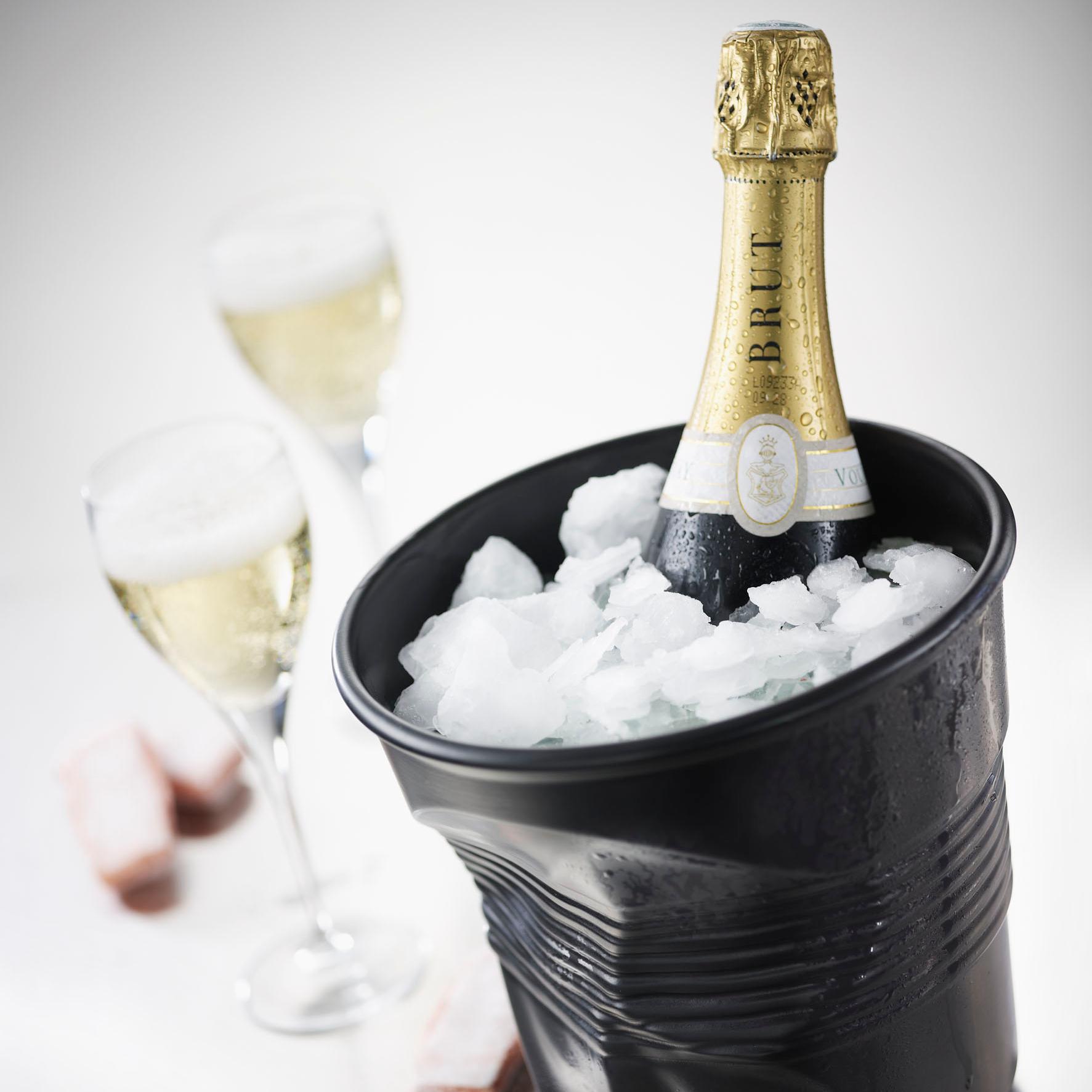Revol Froisses Satin Black Porcelain Crumple Champagne Bucket