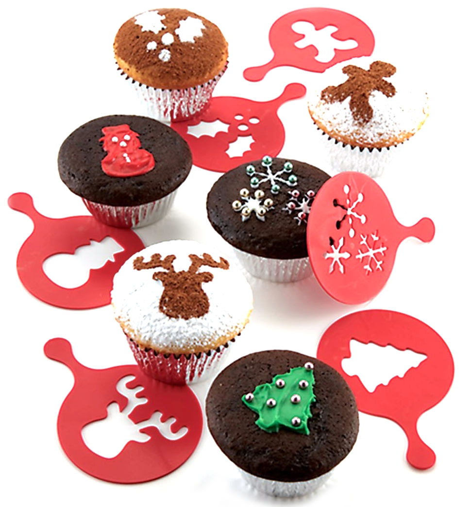 Chicago Metallic Red Holiday Cupcake Stencil, Set of 6