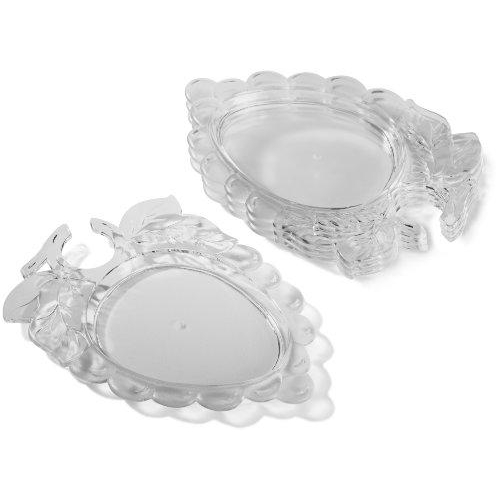 Prodyne Embossed Grape Acrylic Wine Holder Plate, Set of 4