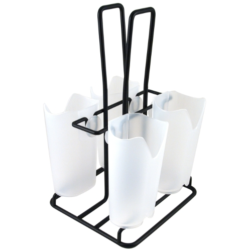 Prodyne Black Metal Flatware Caddy with Frosted Compartments