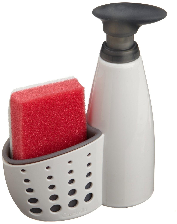 Casabella Sink Sider White and Gray Soap Pump Bottle with Built-in Sponge Holder
