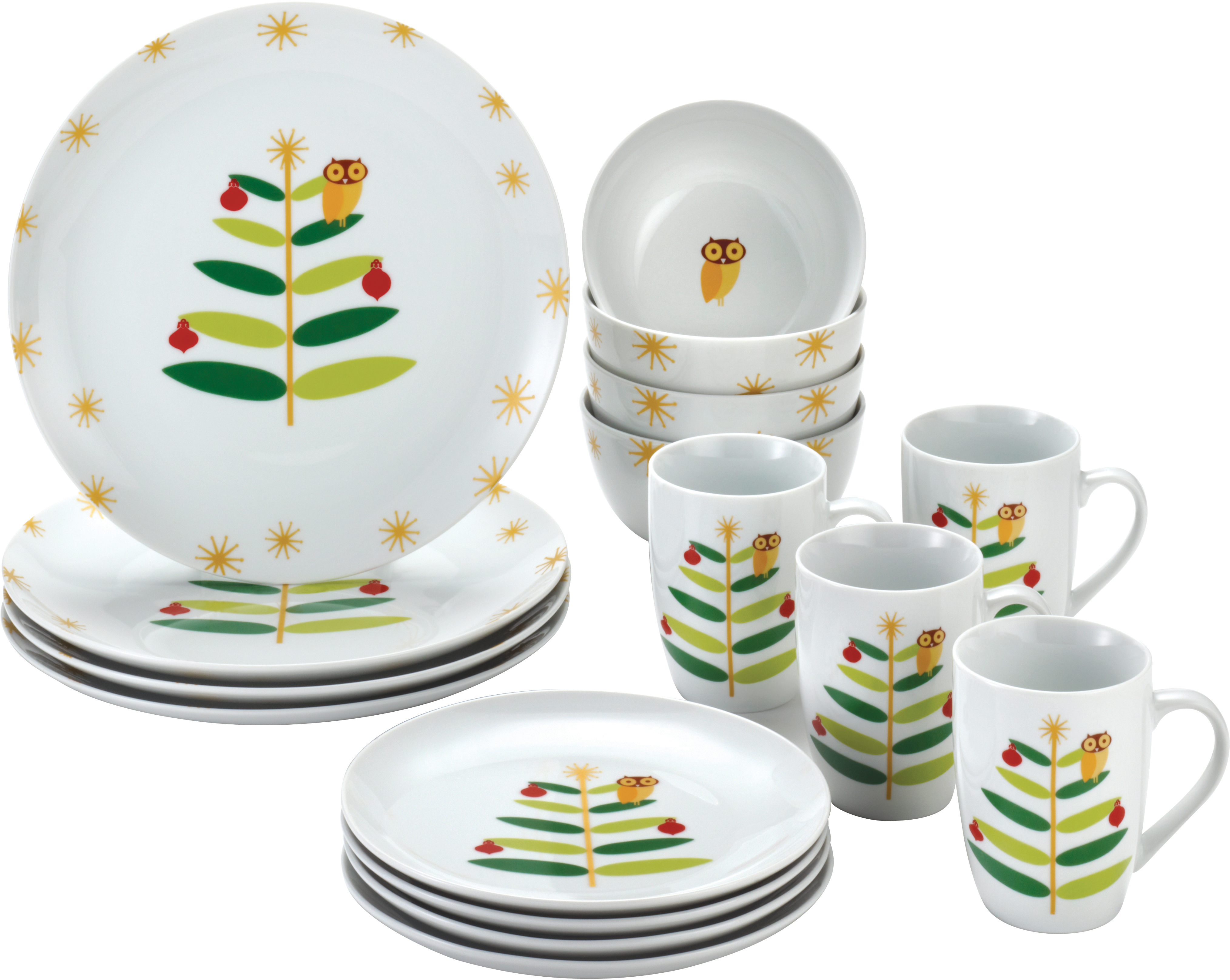 Rachael Ray Holiday Hoot 16 Piece Porcelain Dinnerware Set, Service for 4