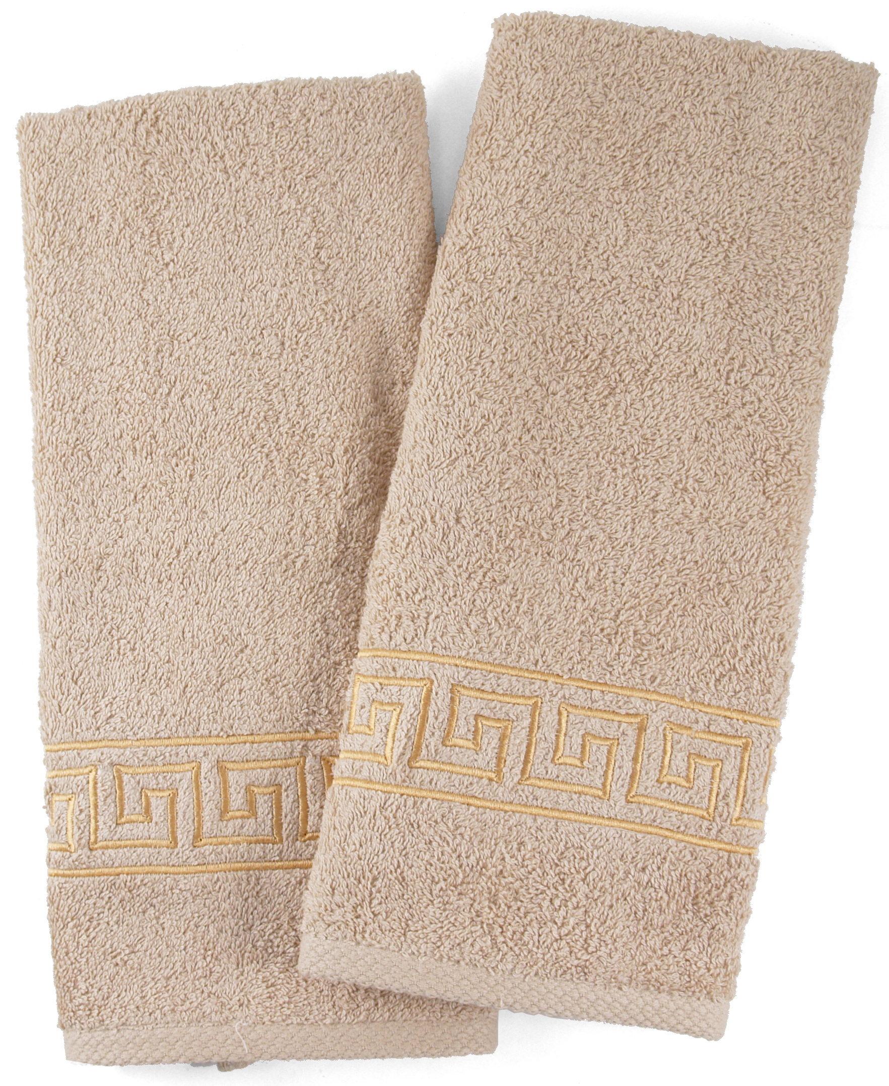 Beige Cotton Hand Towel With Embroidered Greek Key, Set Of 2