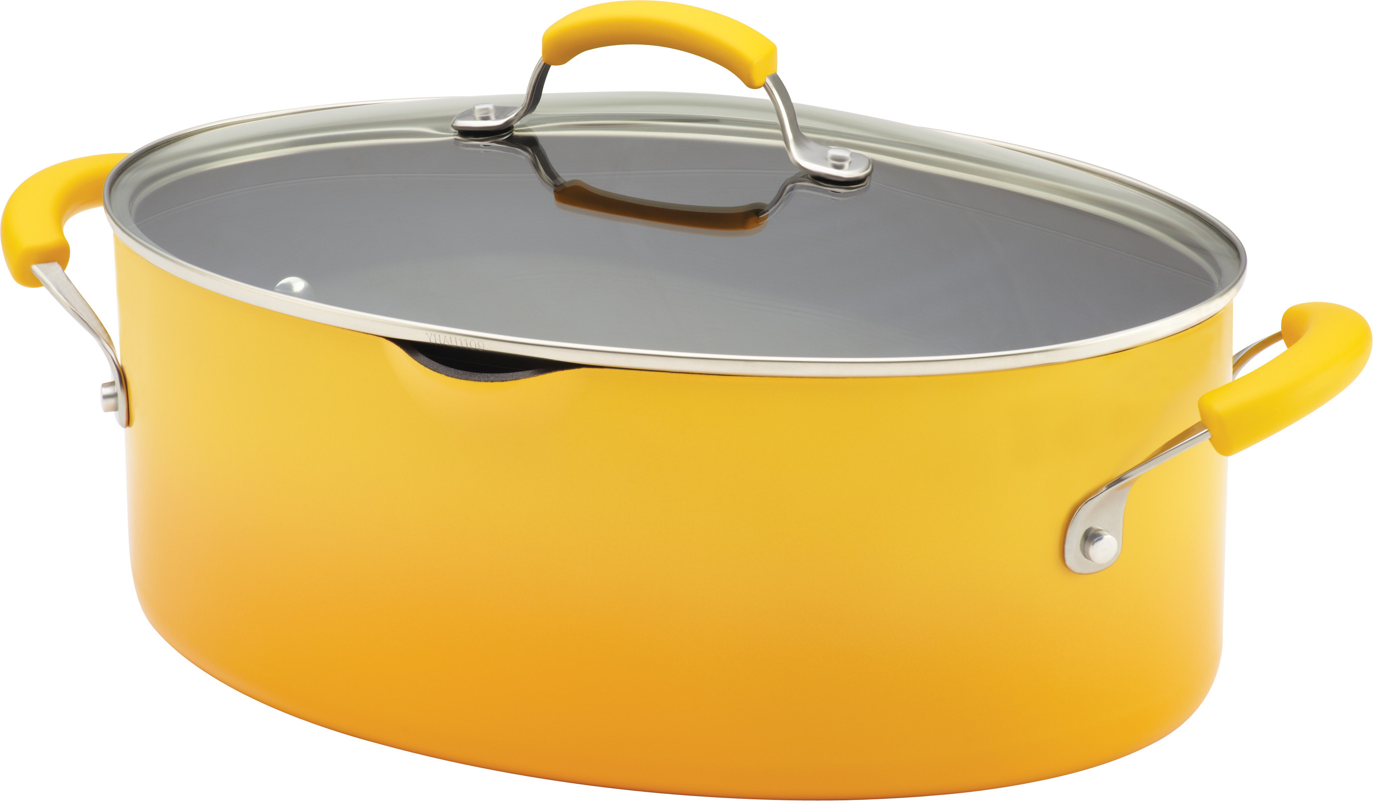 Rachael Ray Porcelain Enamel II Yellow Nonstick Covered Oval Pasta Pot with Pour Spout, 8 Quart