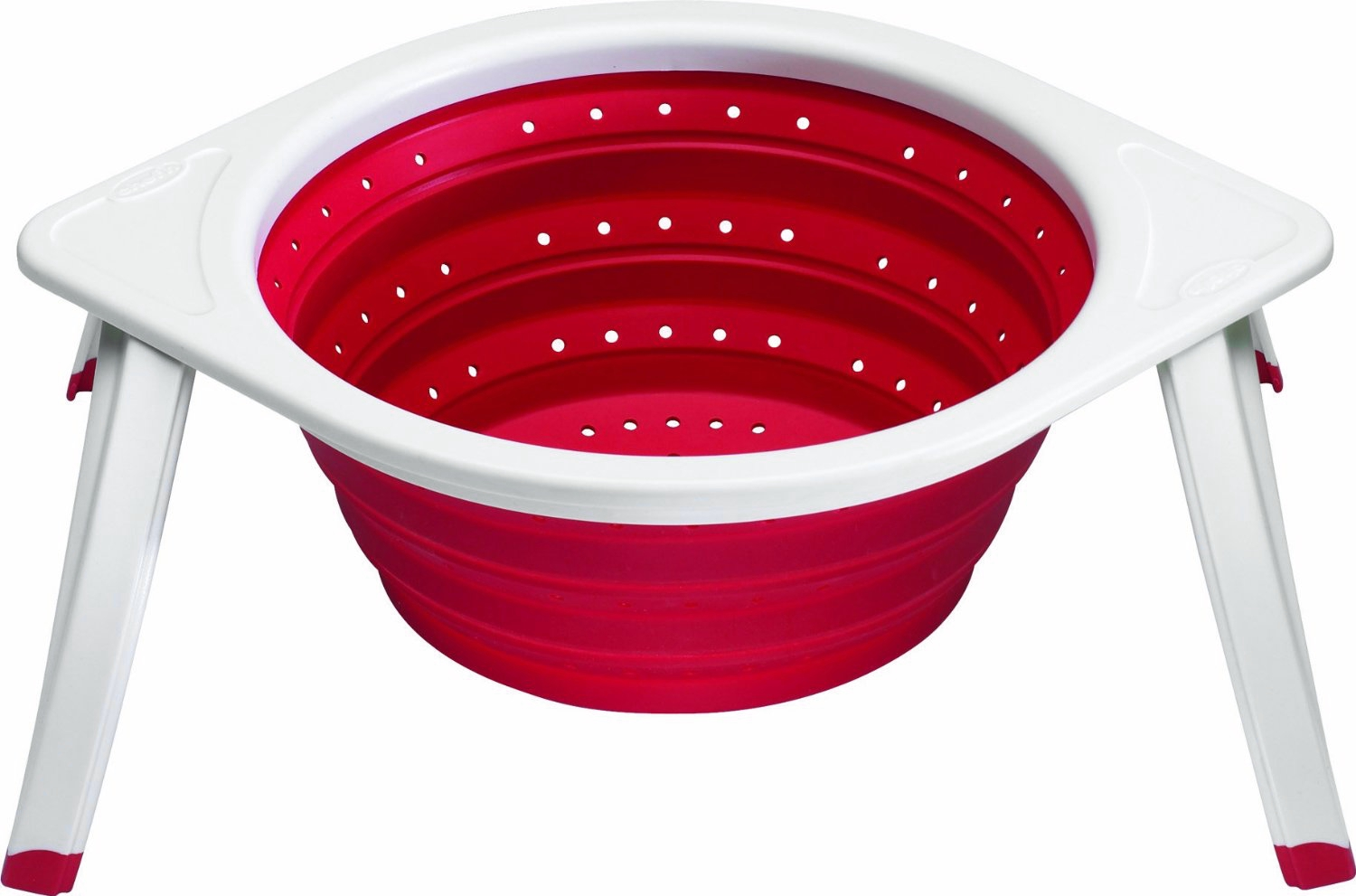 Chef'N Sleekstor Cherry Red and White Large Collapsible Colander, 11 Inch