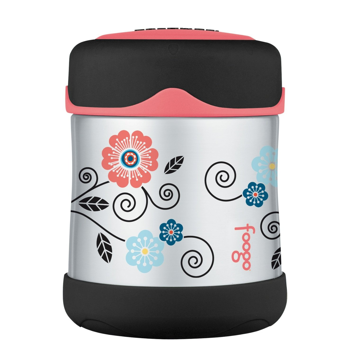 Thermos Foogo Poppy Patch Stainless Steel Leak-Proof Food Jar, 10 Ounce
