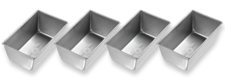 USA Pan Aluminized Steel Mini Loaf Bread Pan, Set of 4