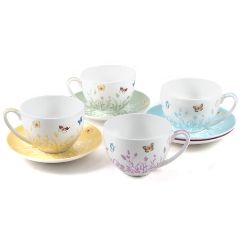 Ashdene Tranquil Butterfly Bone China Tea Cup and Saucer Set, Service for 4