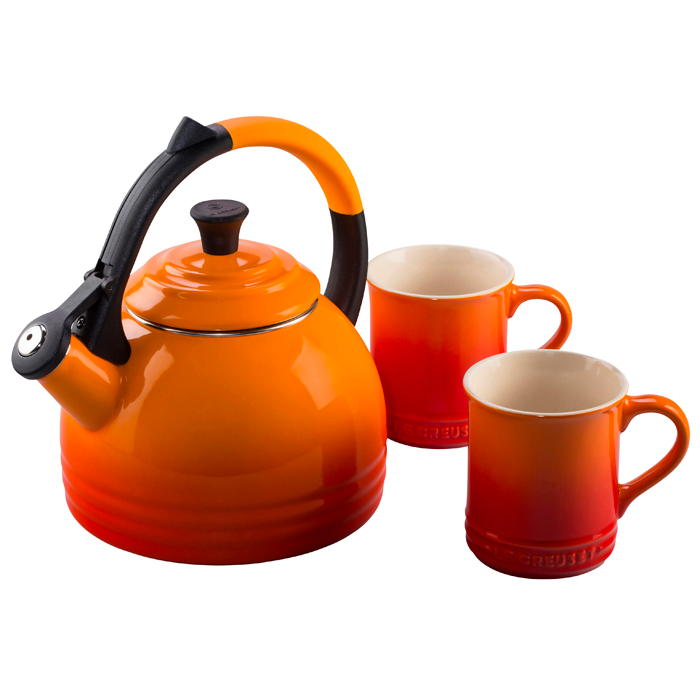 Le Creuset 3 Piece Flame Enameled Steel Kettle and Mug Set