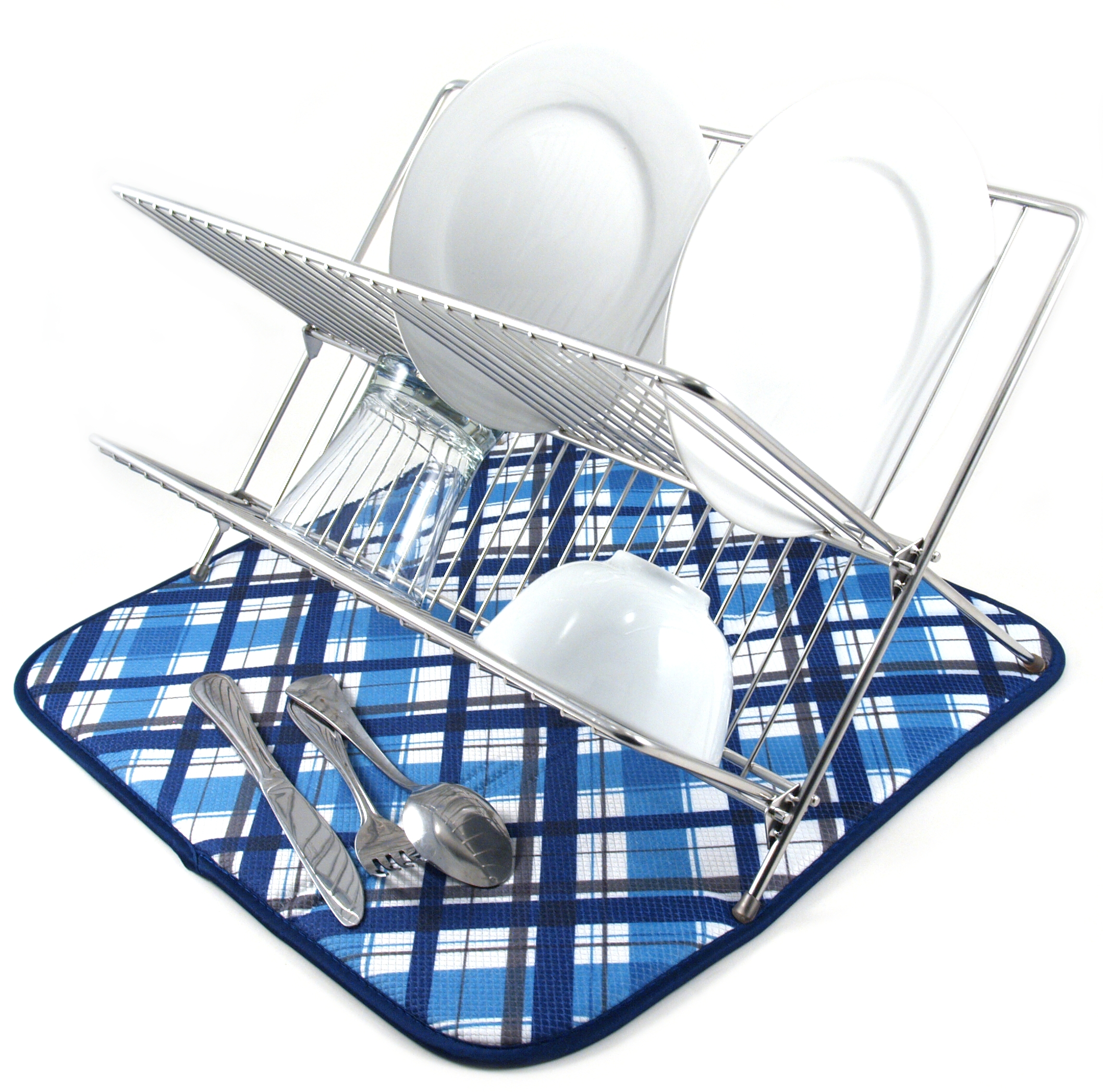 Envision Home Cobalt Plaid Dish Drying Mat, 16 x 18 Inch