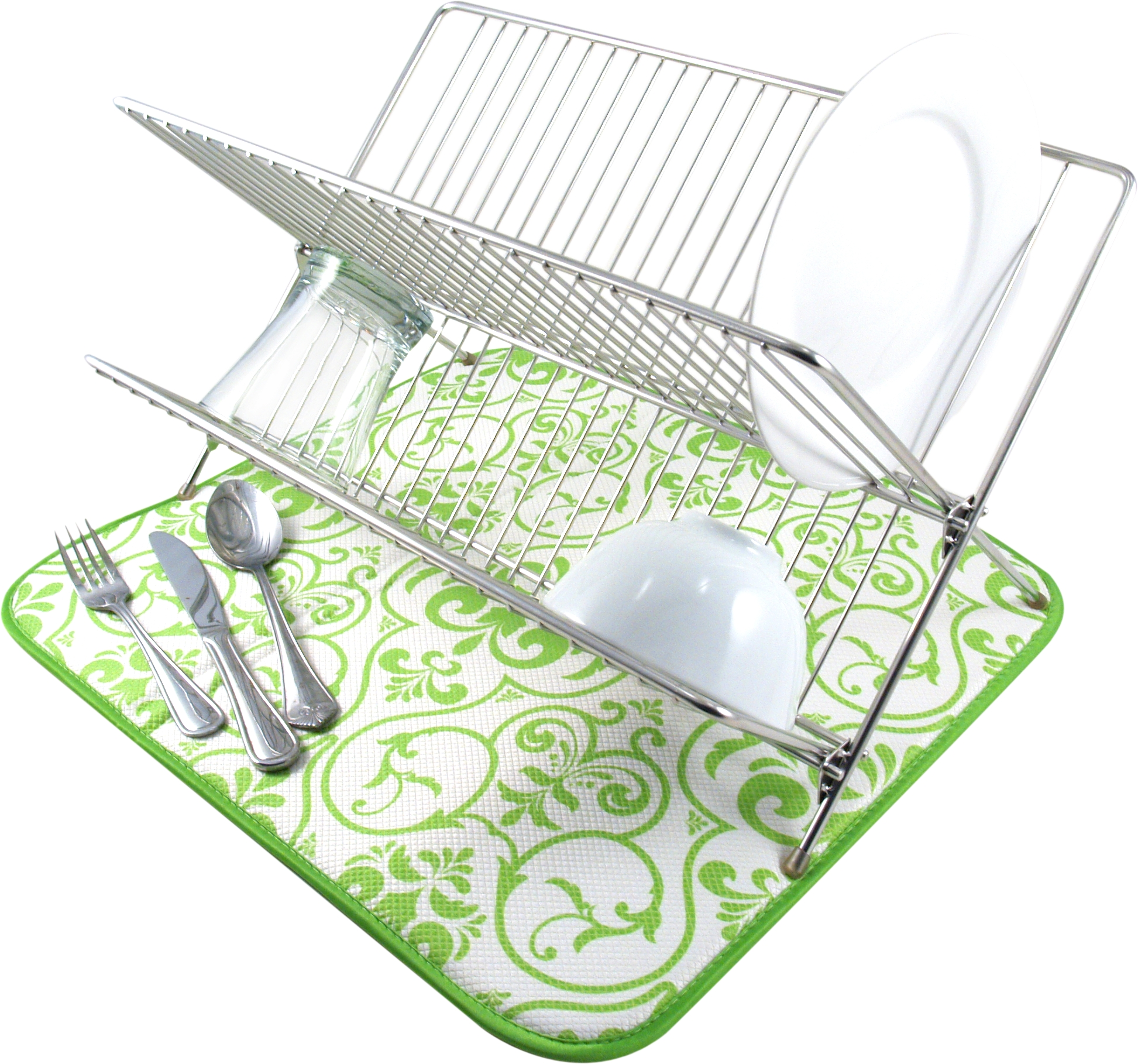Envision Home Lime Green Damask Dish Drying Mat, 16 x 18 Inch