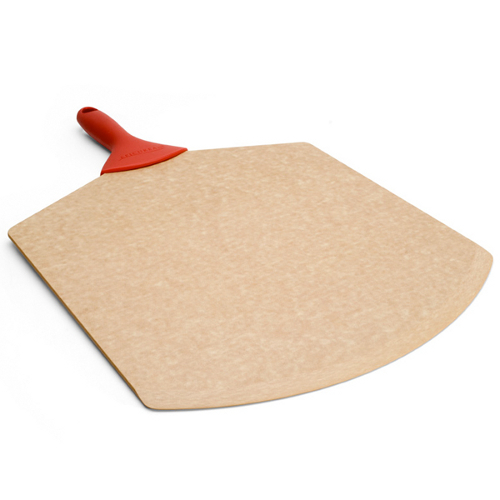 Epicurean Natural Pizza Peel with Red Silicone Grip Handle, 21 x 14 Inch