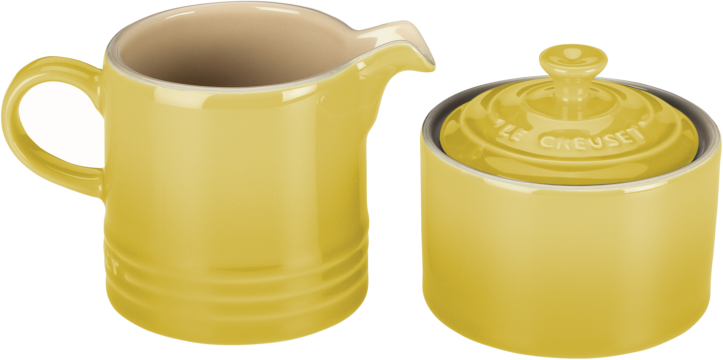 Le Creuset Soleil Yellow Stoneware Cream and Sugar Set
