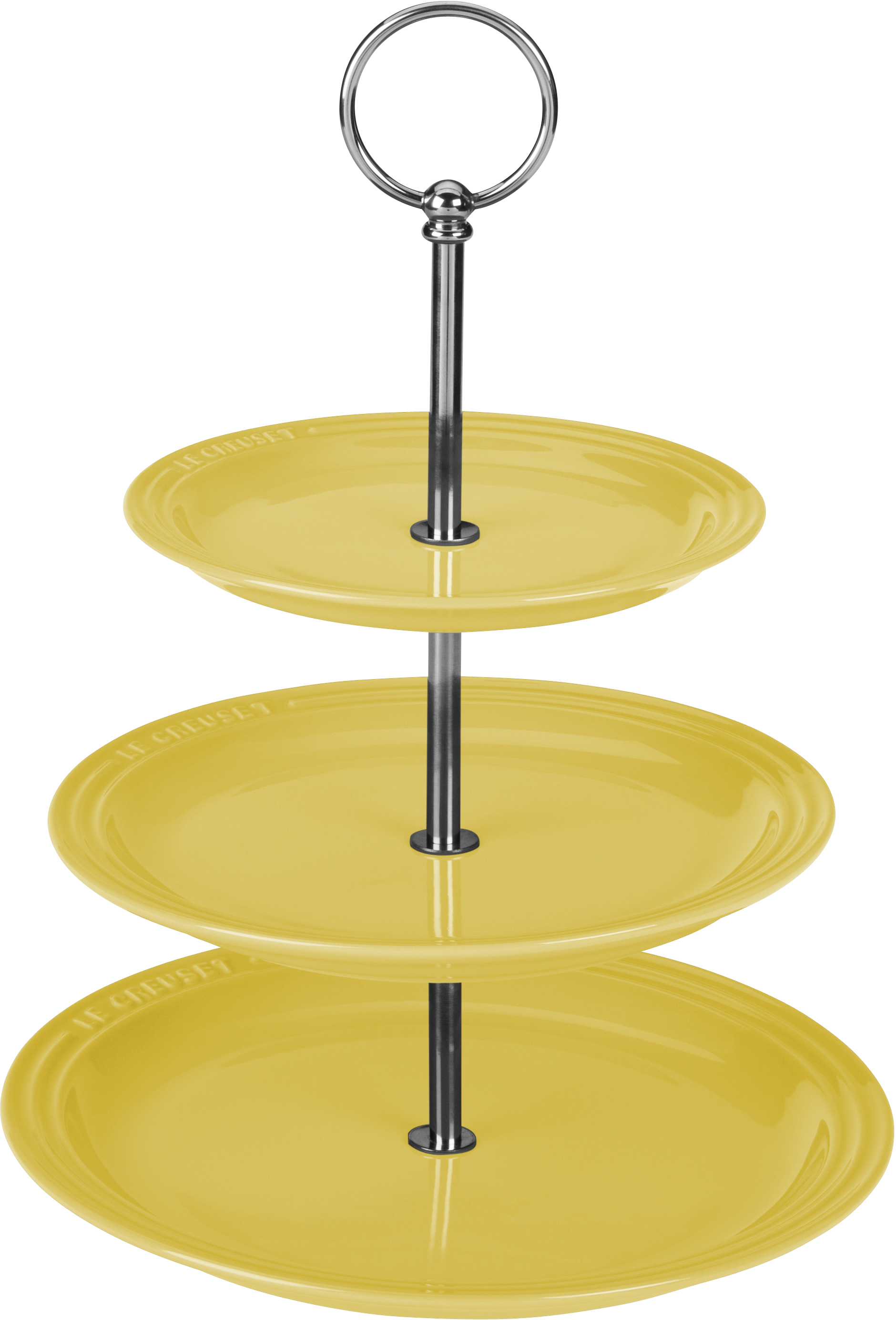 Le Creuset Soleil Yellow Stoneware 3 Tiered Server, 14.5 Inch