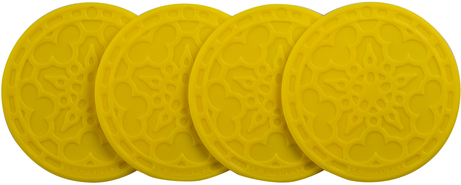 Le Creuset Soleil Yellow Silicone French Coaster, Set of 4